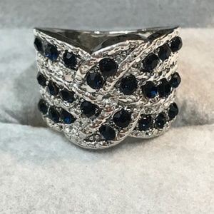 Jewelry - Sterling Silver and Black Sapphire cocktail ring